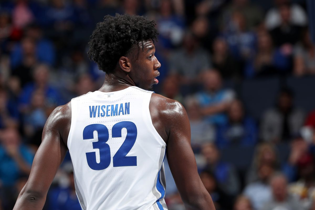 James Wiseman of the Memphis Tigers against the South Carolina State Bulldogs during a game on November 5, 2019 at FedExForum in Memphis, Tennessee. Memphis defeated South Carolina State 97-64.