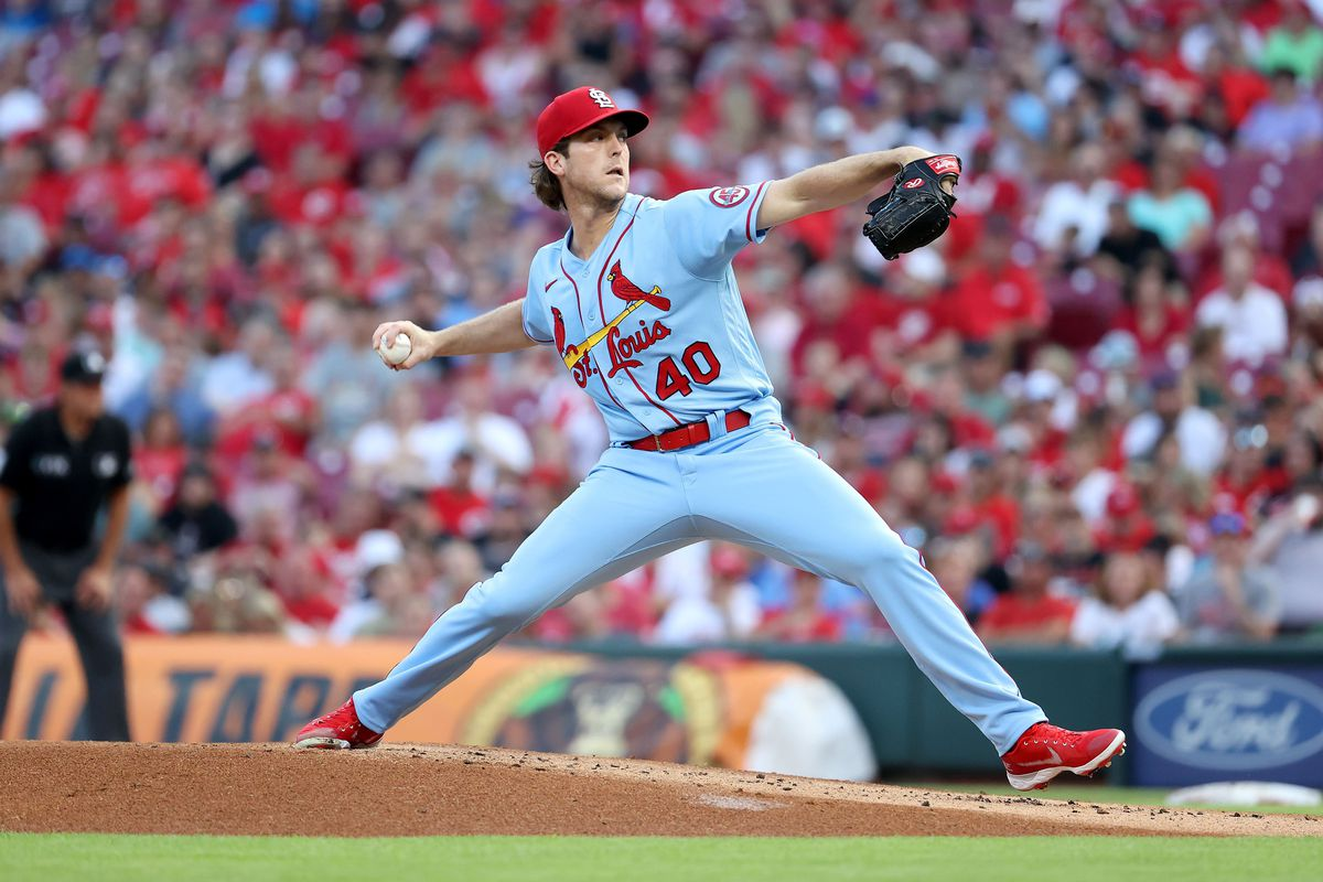 Jake Woodford #40 of the St. Louis Cardinals throws a pitch against the Cincinnati Reds at Great American Ball Park on July 24, 2021 in Cincinnati, Ohio.