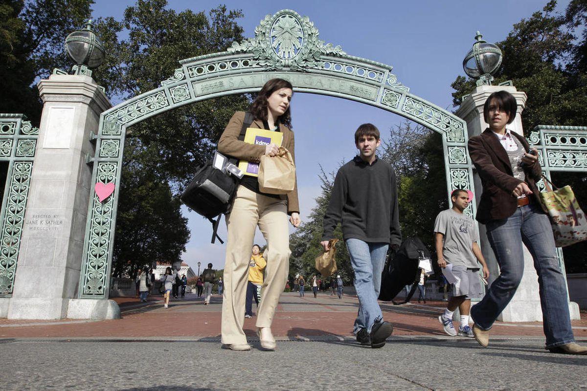 University of California, Berkeley students walk through Sather Gate on the Berkeley, Calif., campus, Wednesday, Dec. 14, 2011.
