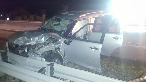An SUV was severely damaged after crashing early July 27, 2020, on I-65 near Crown Point.