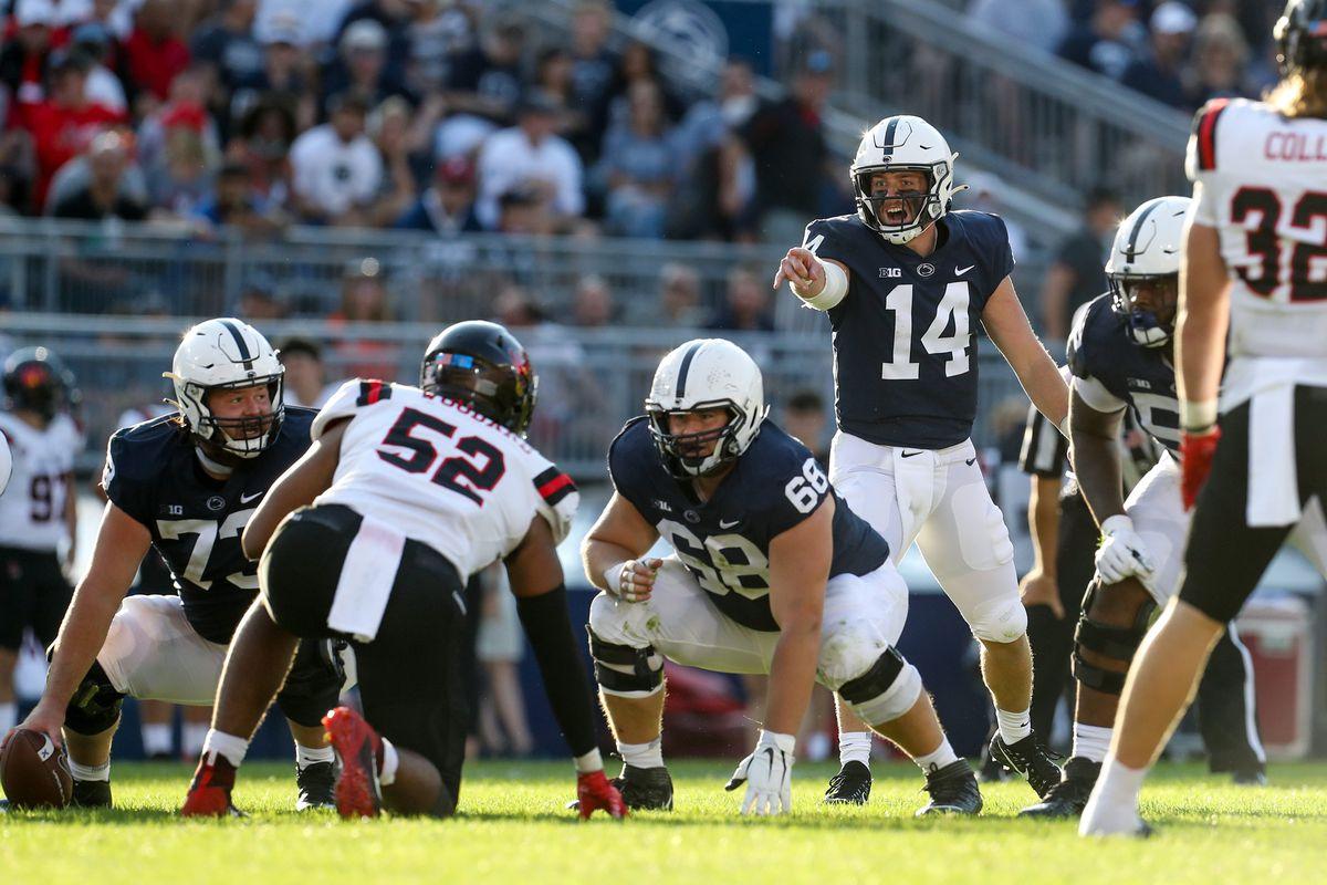 Penn State quarterback Sean Clifford gets ready to call a play against Ball State.