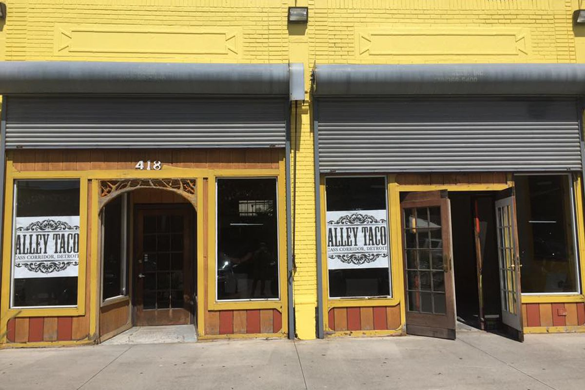 Alley Taco signs hang inside the former Goodwells Natural Foods space on Willis.