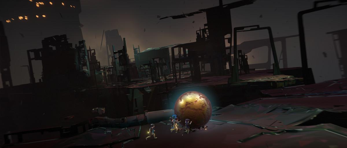 Vane - golden orb in front of ruined structures