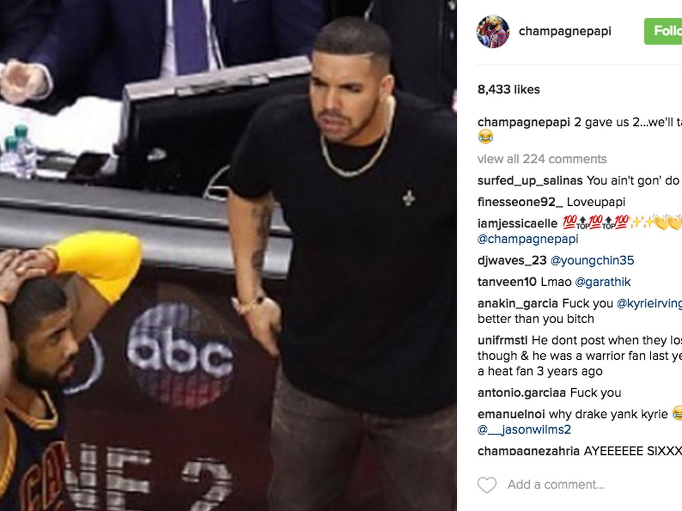 Drake is talking trash on his Instagram again after Raptors