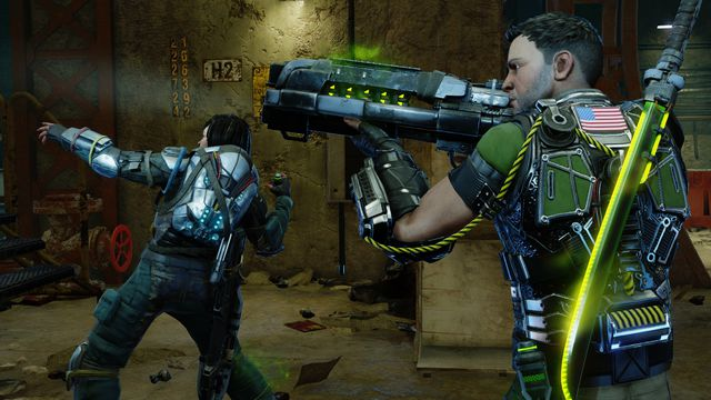 Two futuristic soldiers raise their weapons at an unknown threat in XCOM 2: War of the Chosen