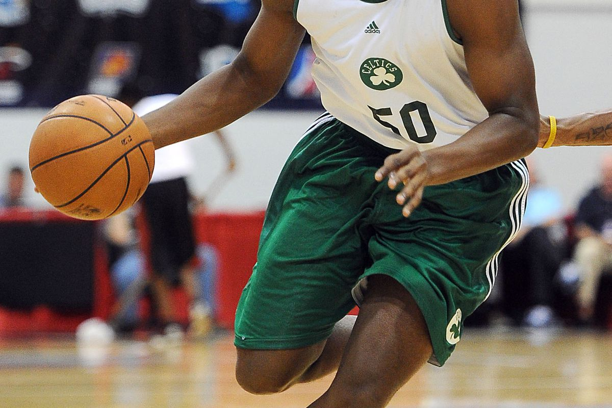 July 17, 2012; Las Vegas, NV, USA;   Boston Celtics guard Dionte Christmas (50) takes the ball down court during the game against the Chicago Bulls at the Cox Pavilion. Mandatory Credit: Jayne Kamin-Oncea-US PRESSWIRE