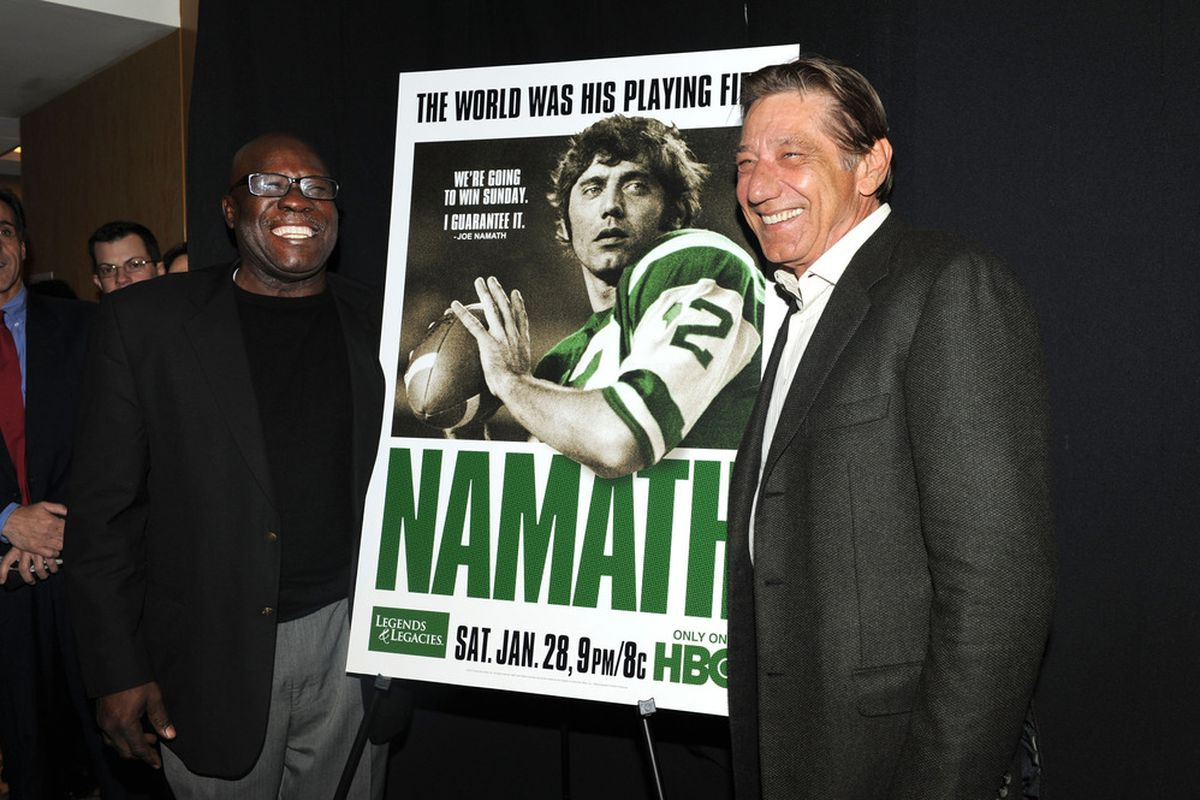 """Joe Namath at the premiere of """"Namath"""" at the HBO Theater on January 25, 2012 in New York City.  (Photo by Craig Barritt/Getty Images)"""