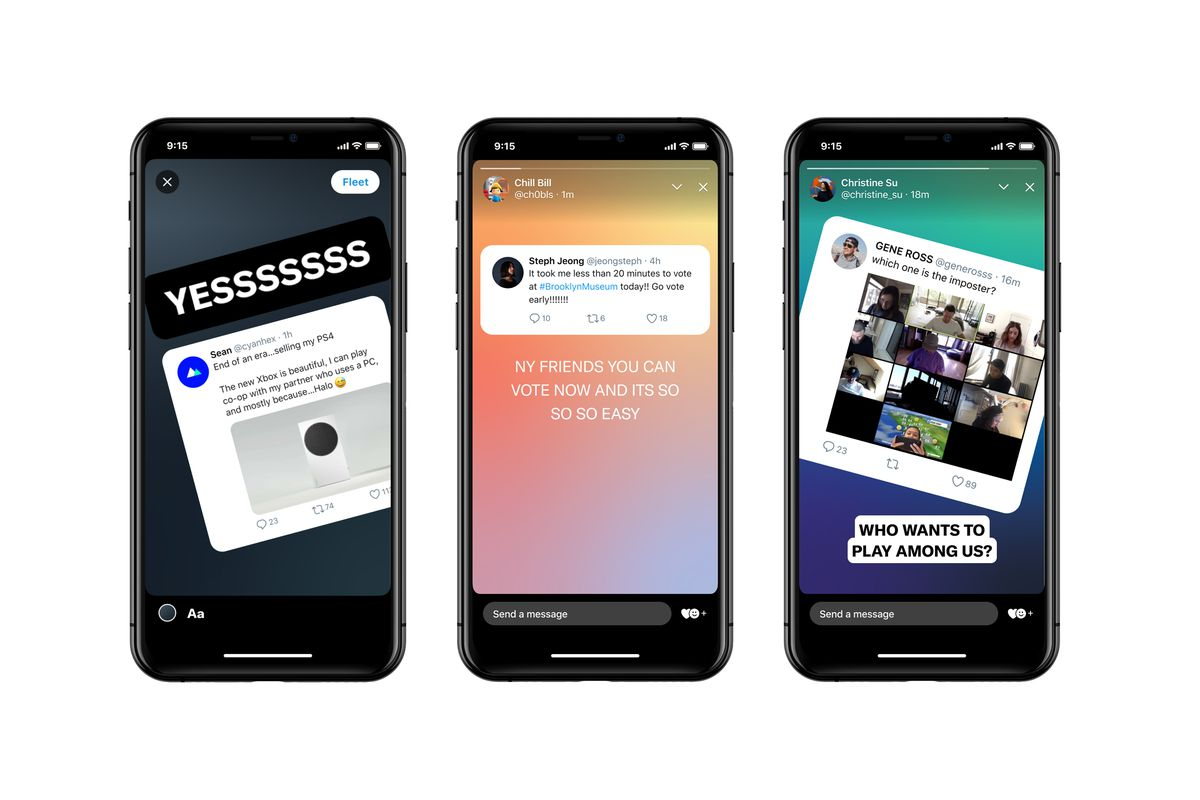 Three phones showing a new Twitter feature called Fleets on the screen.