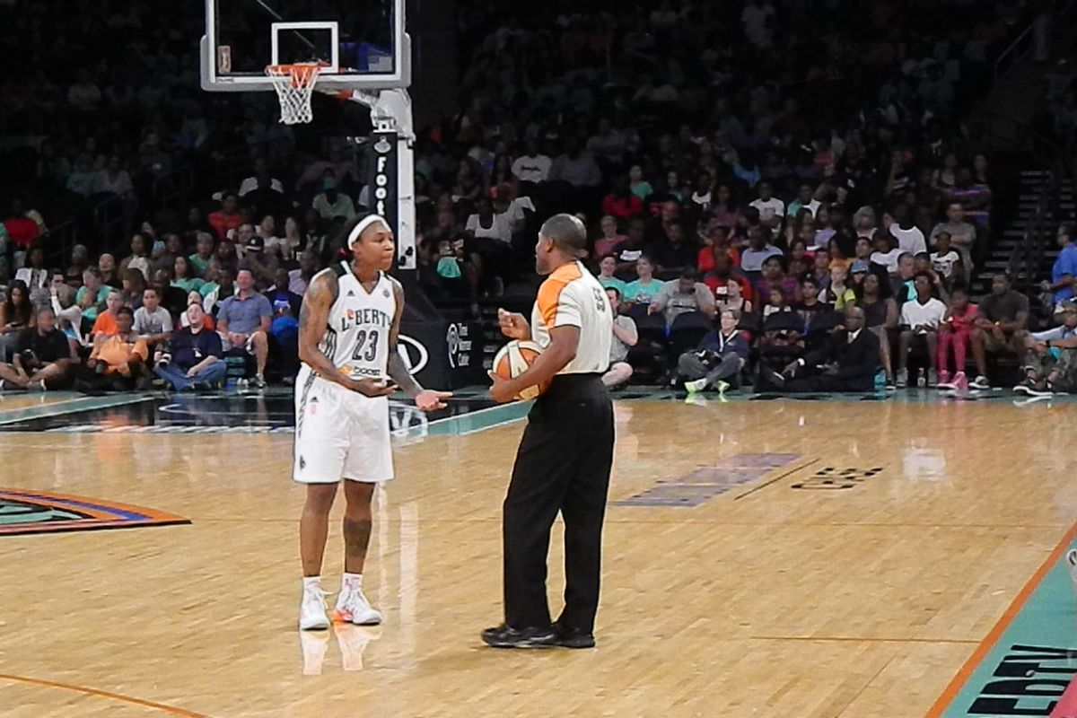 New York Liberty guard Cappie Pondexter pleading with an official over a call in the team's regular season finale.