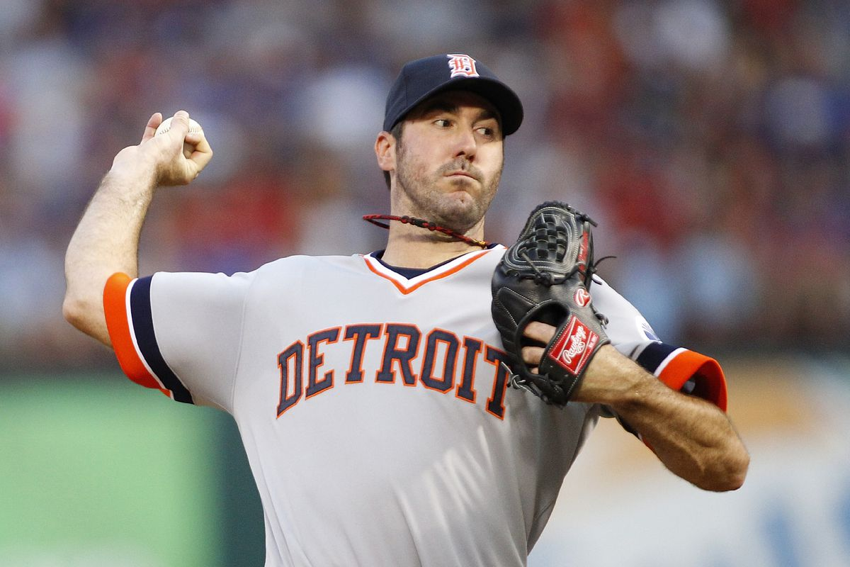 ARLINGTON, TX - AUGUST 11: Justin Verlander #35 of the Detroit Tigers delivers a pitch against the Texas Rangers at Rangers Ballpark in Arlington on August 11, 2012 in Arlington, Texas. (Photo by Rick Yeatts/Getty Images)