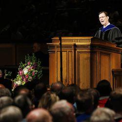 Elder Craig A. Cardon speaks during BYU Spring 2014 Commencement exercises in Provo Thursday, April 24, 2014.