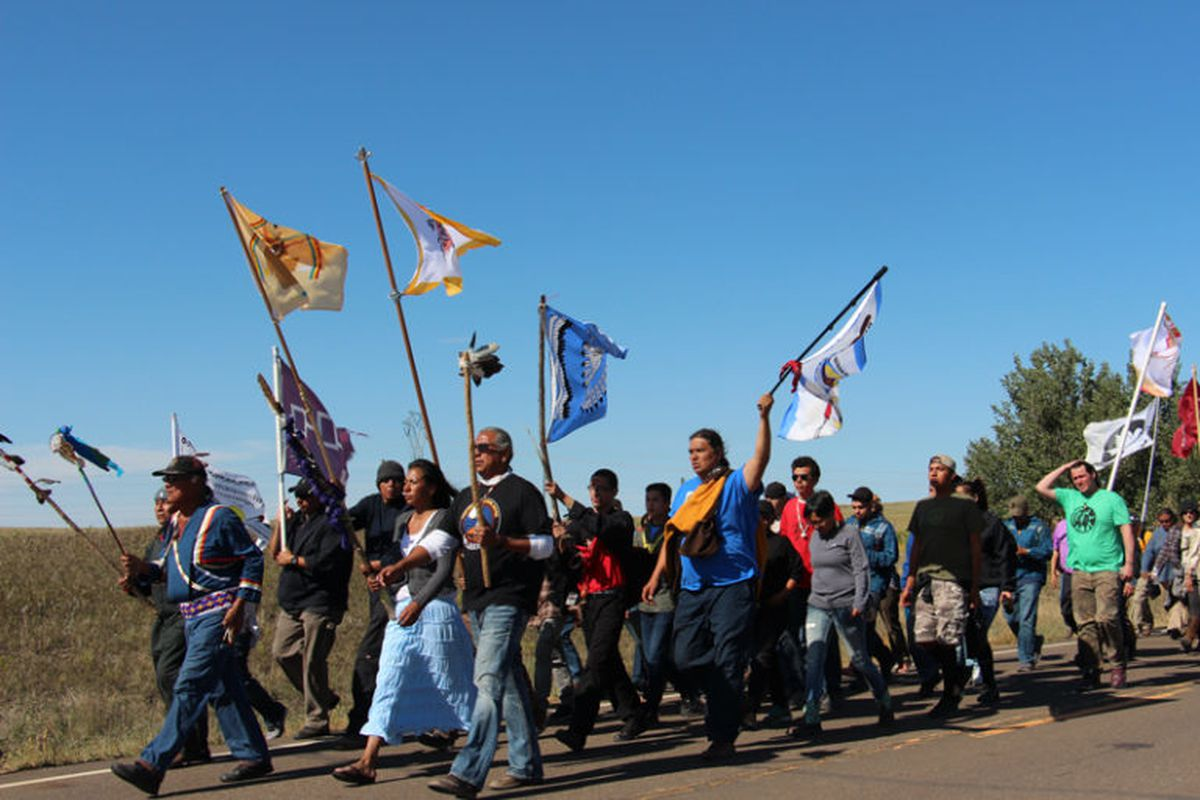 Several hundred people took part in a prayer walk on Sept. 14, 2016, from the Oceti Sakowin camp near Standing Rock Reservation in North Dakota to the site up the road where Dakota Access began digging over Labor Day weekend for construction on a nearly 1