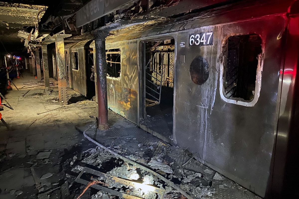 The remains of 2 train fire that killed Garrett Goble, March 27, 2020.