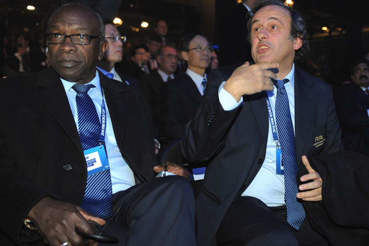 ZURICH SWITZERLAND - DECEMBER 02: FIFA Vice-President Jack Warner and FIFA President Michel Platini look on during the FIFA World Cup 2018 & 2022 Host Announcement on December 2 2010 in Zurich Switzerland.  (Photo by Michael Regan/Getty Images)
