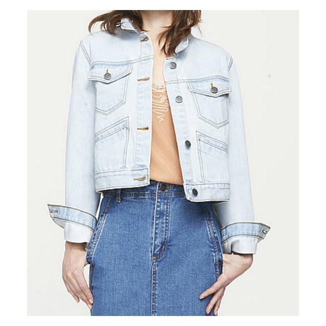 Model wearing a light denim jacket