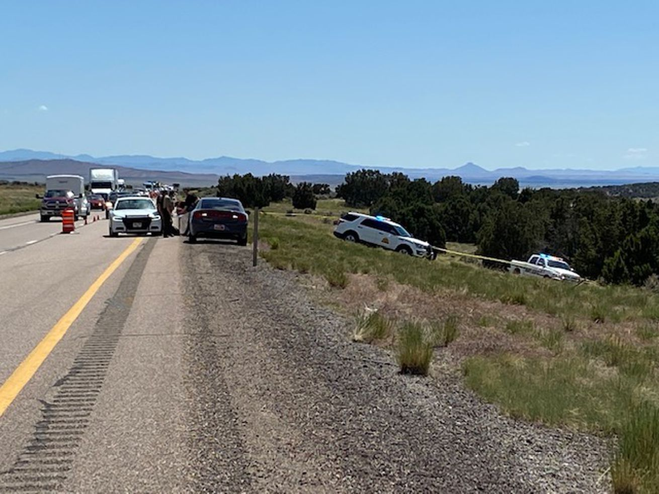 Police respond to a scene near Scipio in Millard County after a man was injured in an encounter with a Millard County Sheriff's deputy on Thursday, May 21, 2020. Police would not confirm Thursday whether the victim's injury was caused by a gunshot or if the deputy fired his weapon.