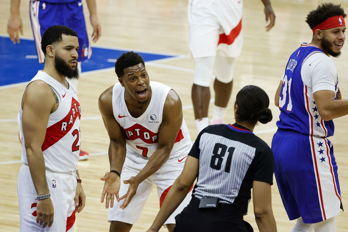 Kyle Lowry of the Toronto Raptors reacts after a call during the fourth quarter against the Philadelphia 76ers at Wells Fargo Center on December 29, 2020 in Philadelphia, Pennsylvania.