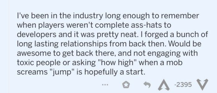 """Text of inflammatory commentary on Apex Legends subreddit: """"I was in the industry long enough to he remembers when the players didn't complete the developer hats. """""""