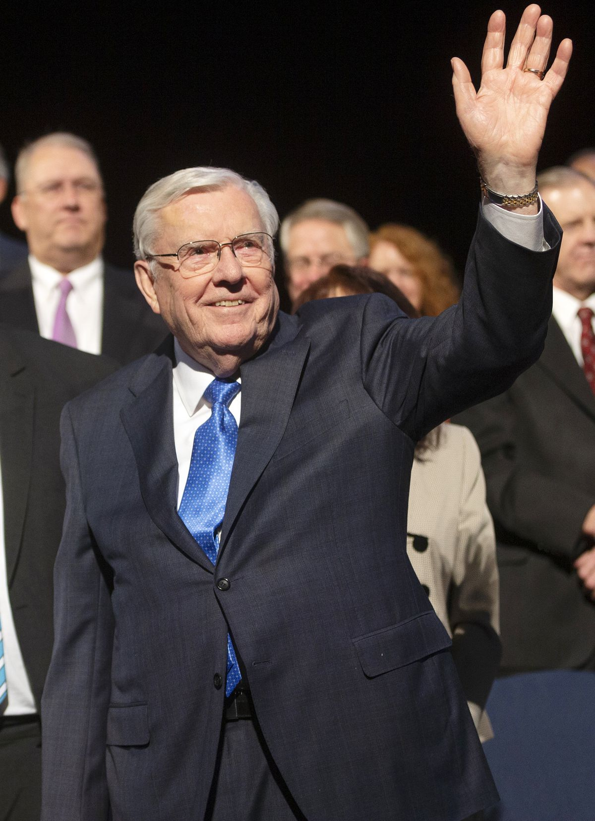 President M. Russell Ballard, acting president of the Quorum of the Twelve Apostles of The Church of Jesus Christ of Latter–day Saints, waves to the crowd as he exits the stand after speaking at a BYU devotional in the Marriott Center in Provo on Tuesday, March 3, 2020.