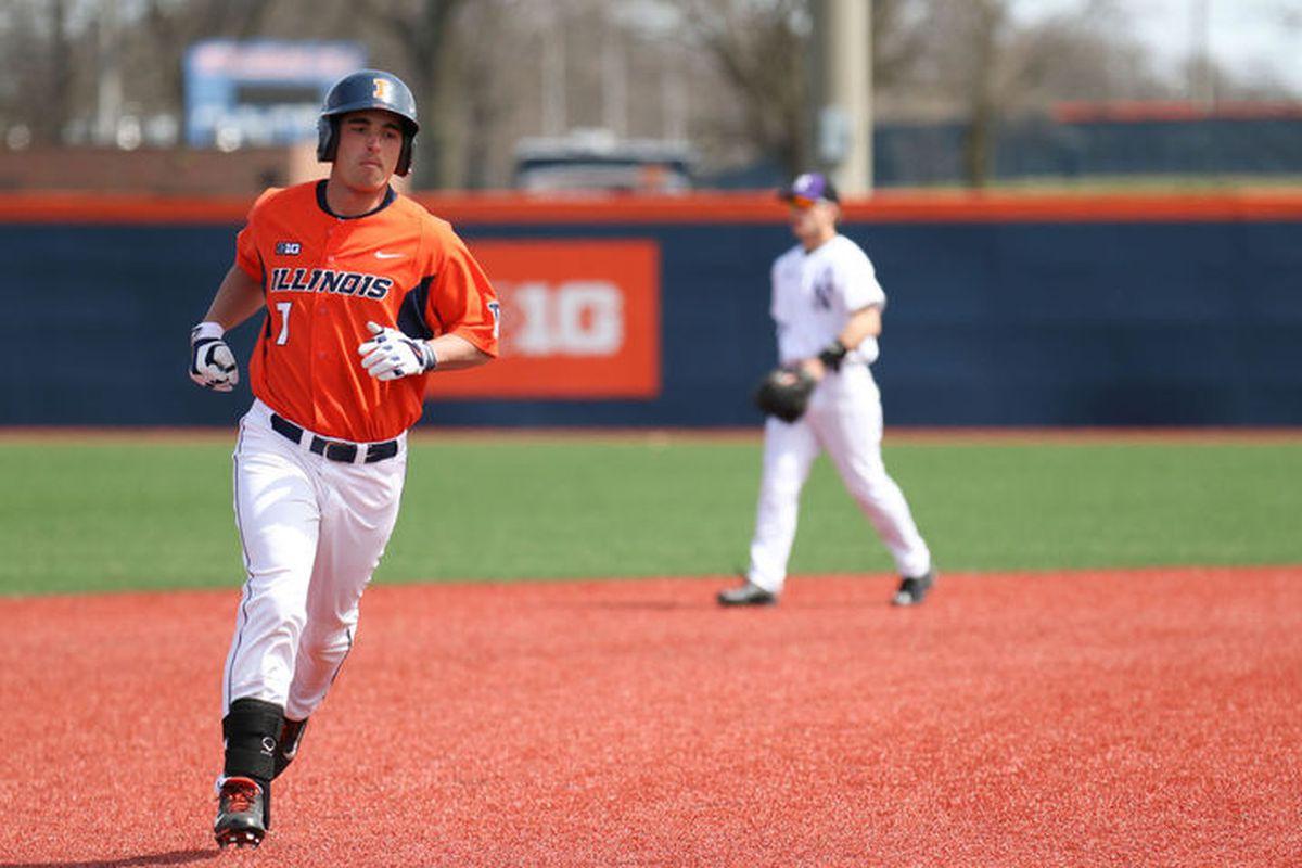 Illinois' Reid Roper runs the bases after hitting a three-run home run against Northwestner at Illinois Field on Sunday.