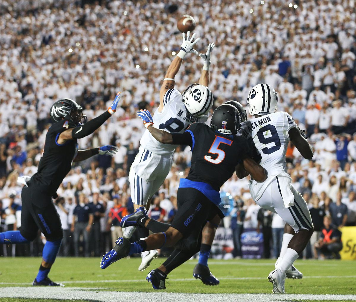 Brigham Young Cougars wide receiver Mitchell Juergens (87) makes a catch in the end zone for the go ahead score as BYU and Boise State play Saturday, Sept. 12, 2015, at LaVell Edwards Stadium in Provo.
