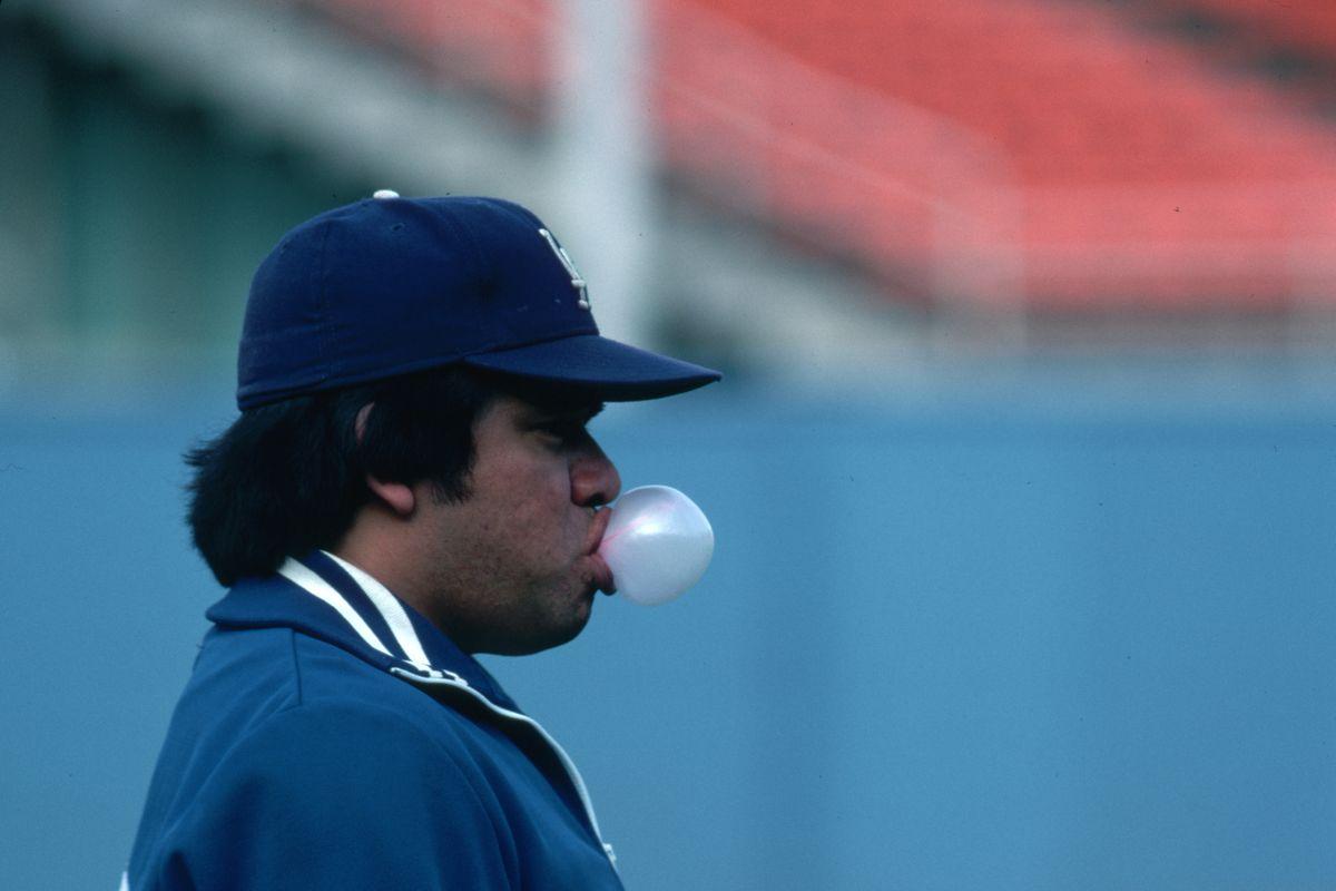 Pitcher Fernando Valenzuela Blowing a Bubble