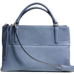 """<a href=""""http://f.curbed.cc/f/Coach_031014_Borough"""">The Borough Bag in Gold/Washed Chambray Pebbled Leather</a>, $598"""