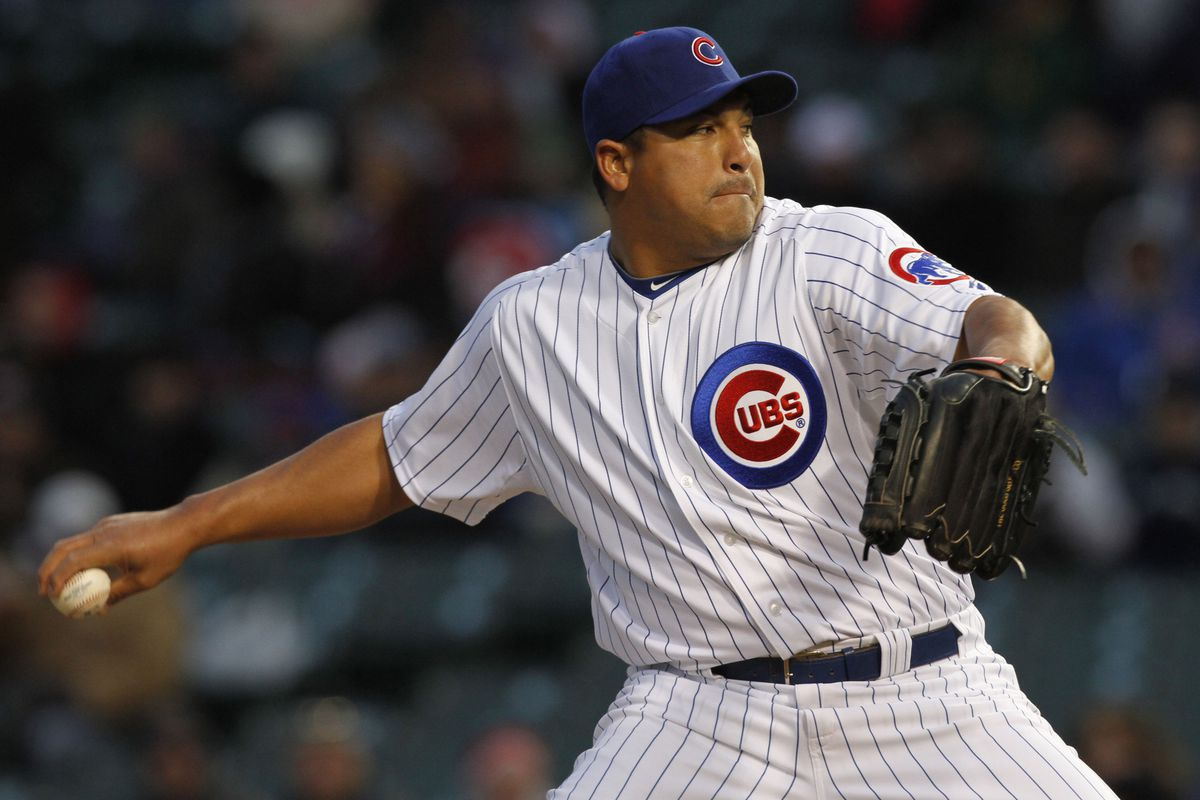 Carlos Zambrano pitches against the Padres, April 18, 2011