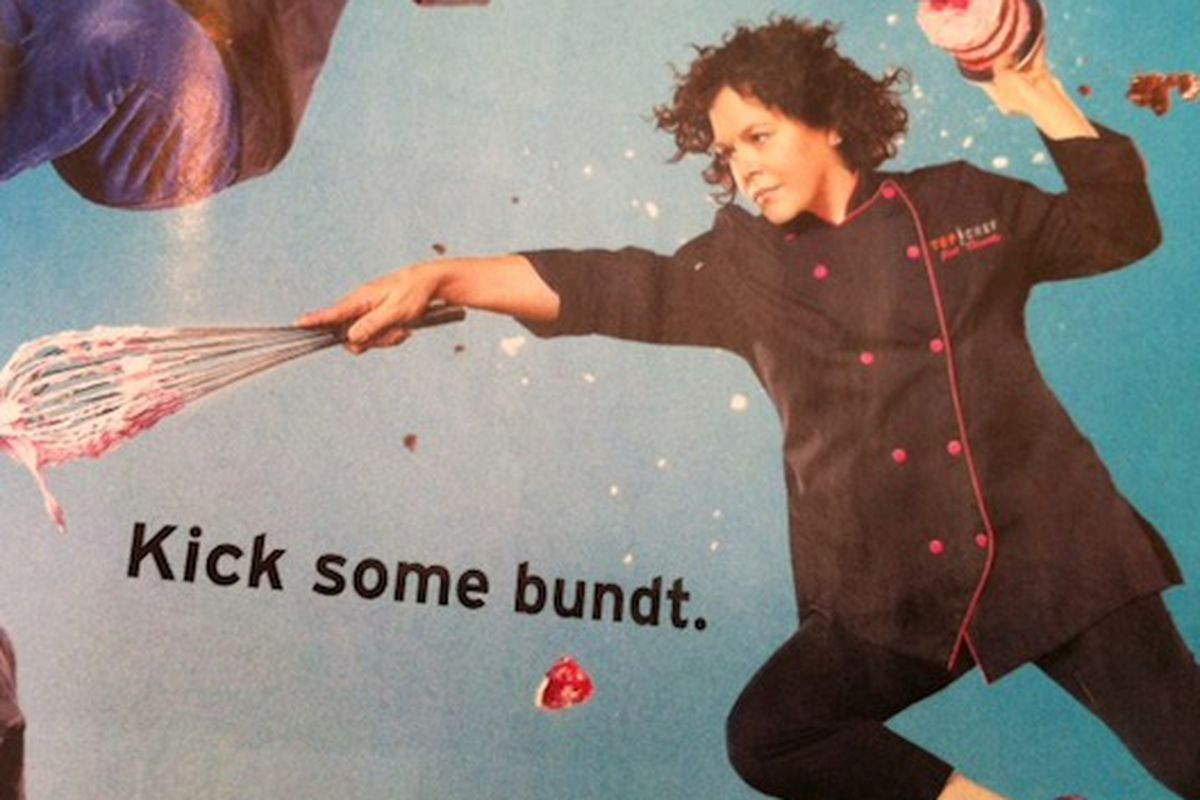 Masson showing off her ninja skillz in a Top Chef Just Desserts ad.