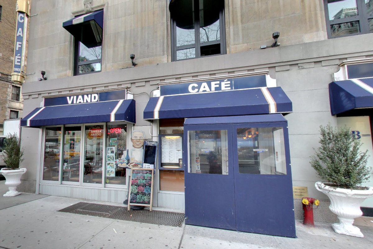 Viand Cafe, a gray awning and white facade.