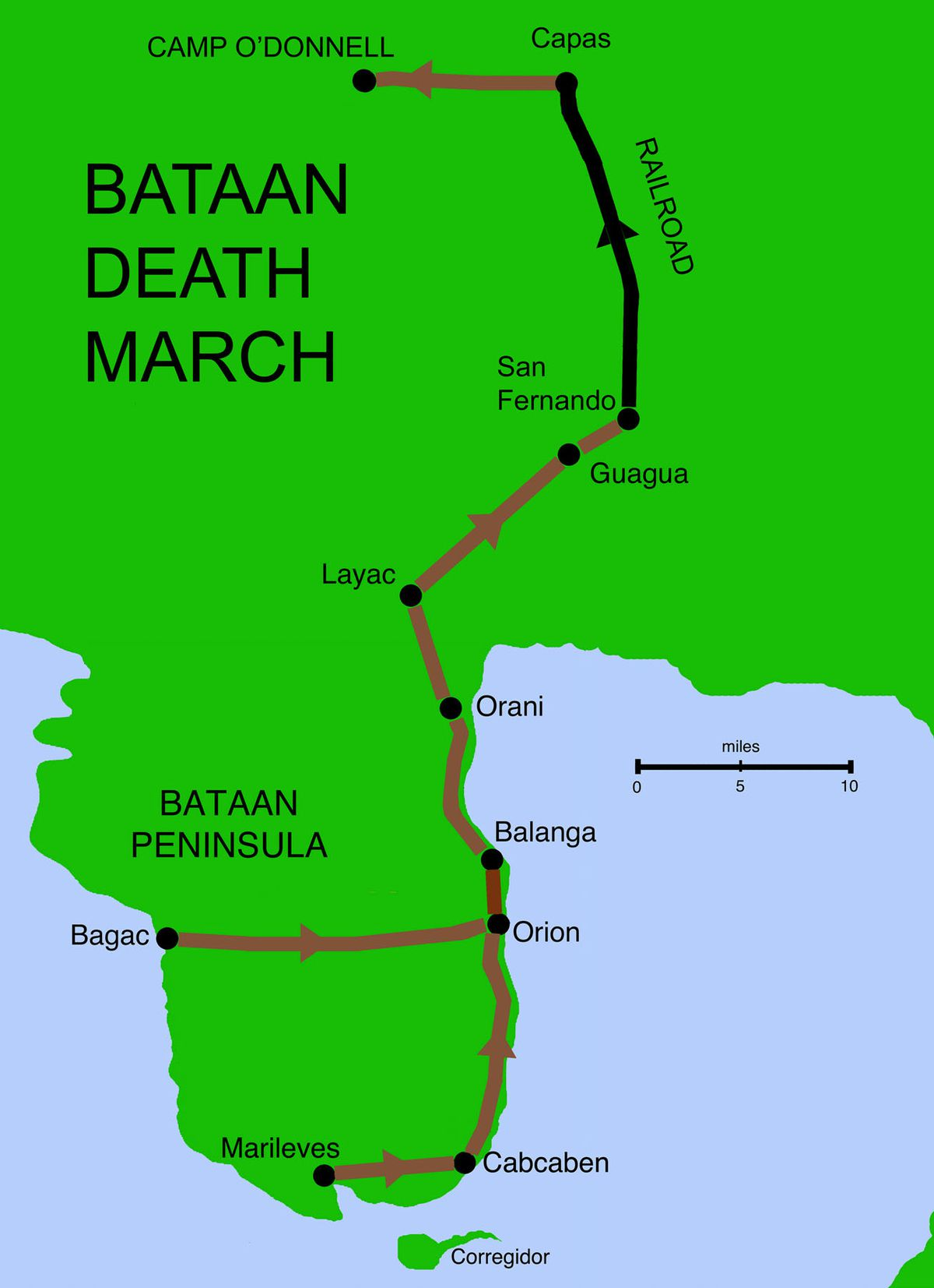 Japanese kill thousands in the Bataan Death March