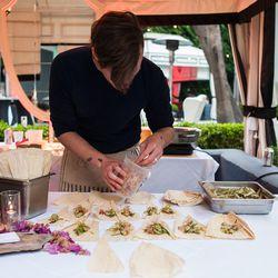Whitehorn plates his tempura okra on corn husks.