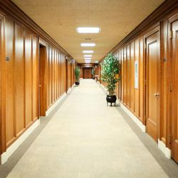 The basement hallway inside the Church Administration Building in Salt Lake City on Monday, Sept. 18, 2017.