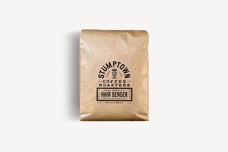 A brown paper bag of coffee