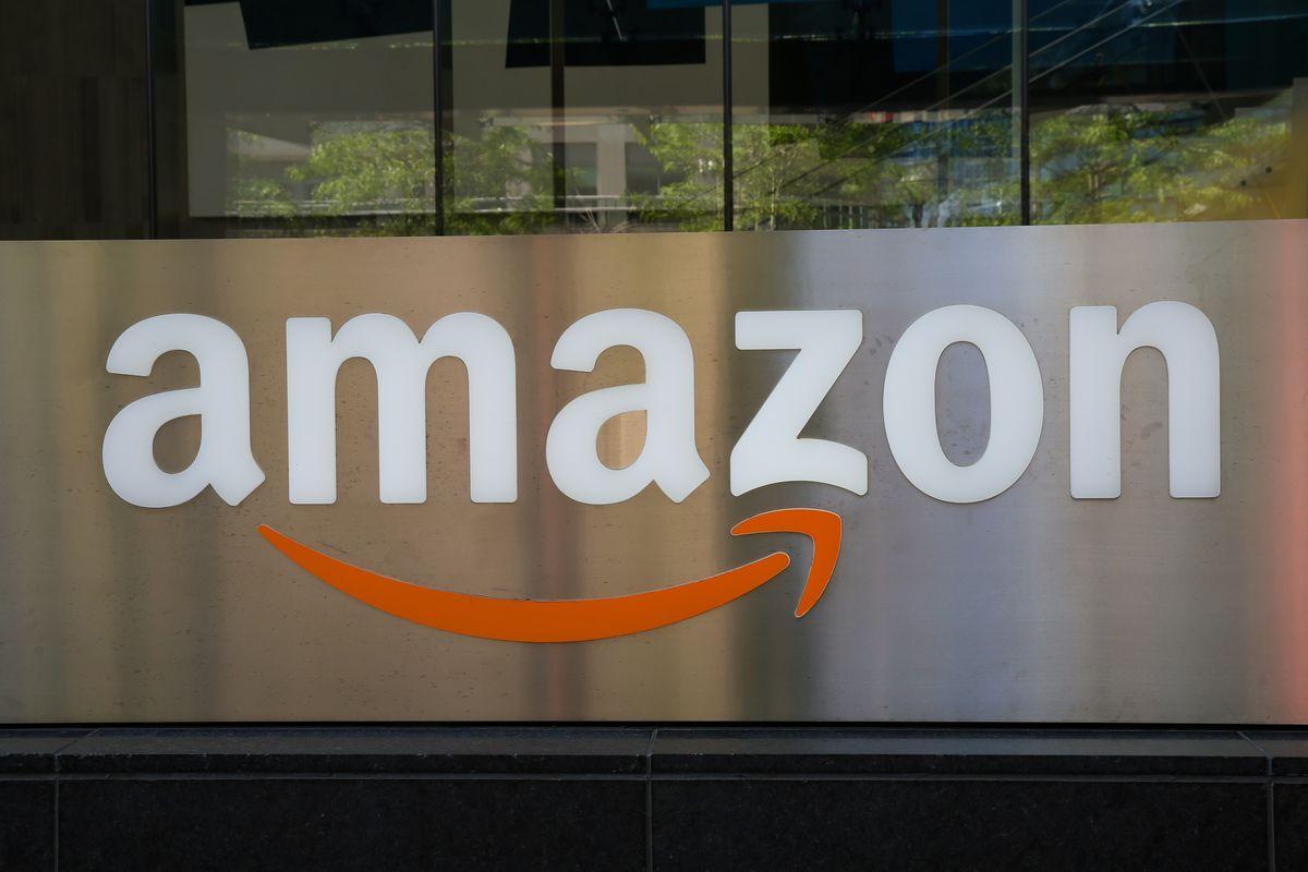 An Amazon logo seen outside a building in Toronto...