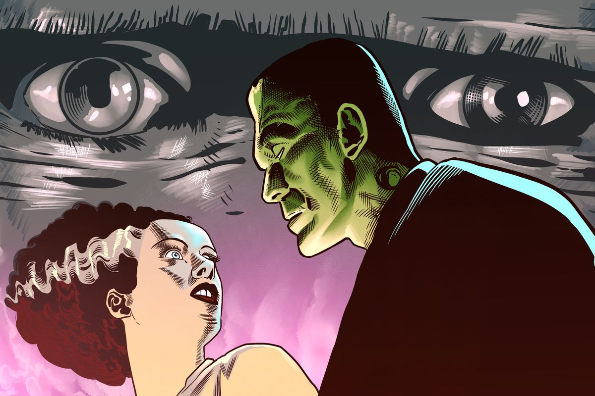An original take on the poster for the Bride of Frankenstein movie.