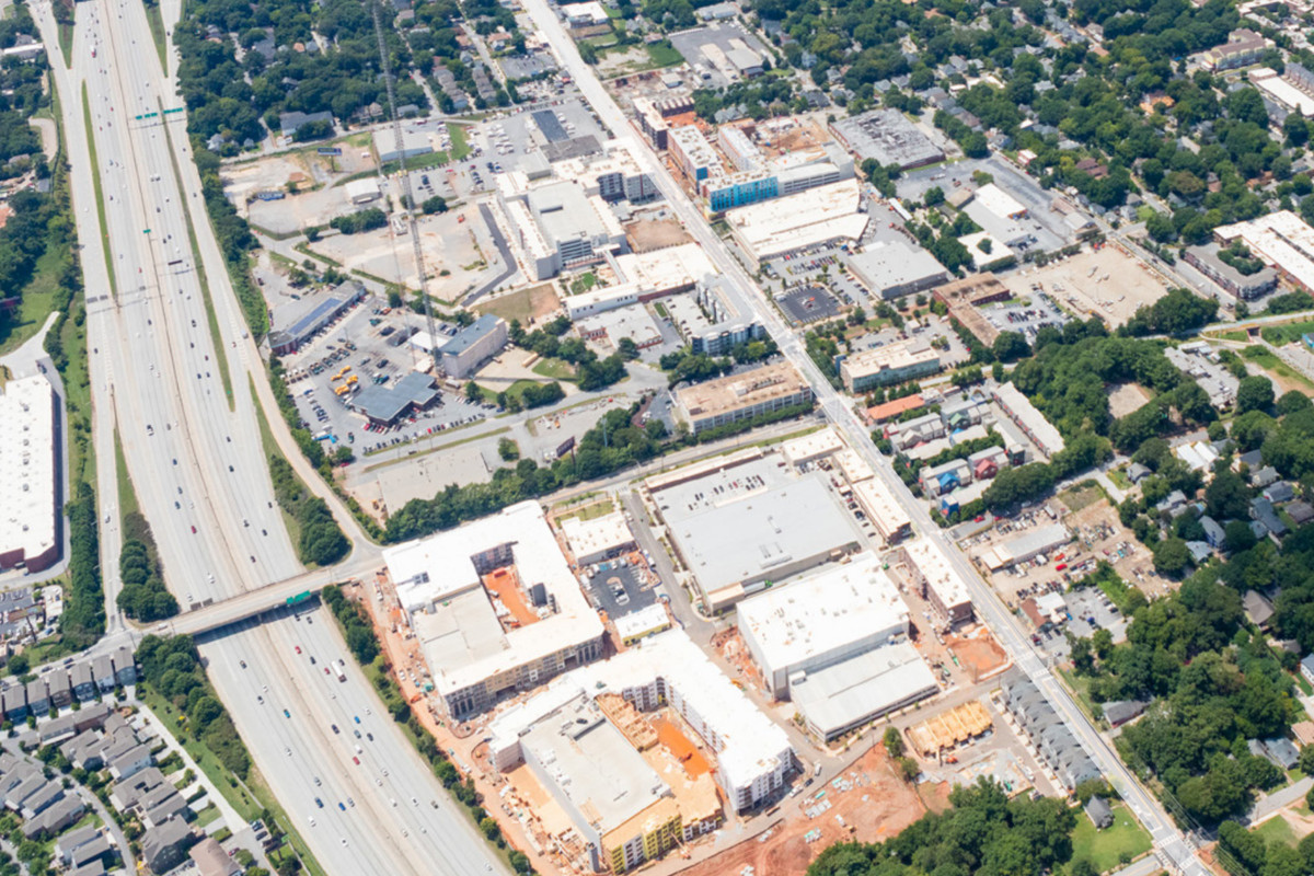 An aerial view of Memorial Drive and the construction sites that surround it.
