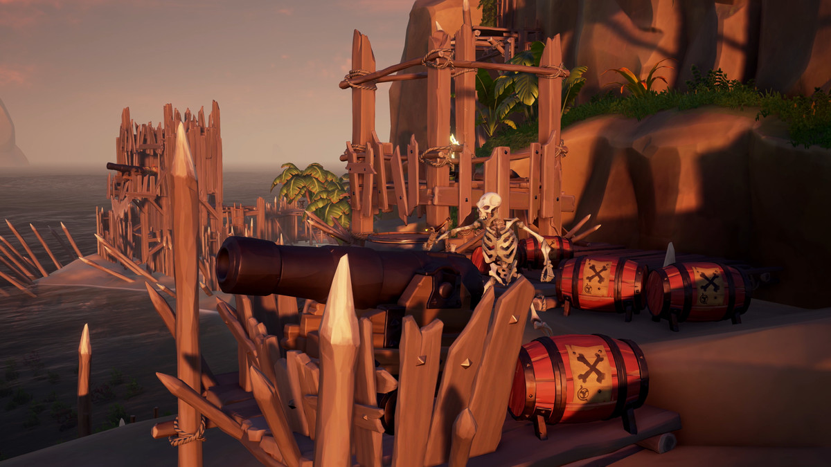 Sea of Thieves - skeleton manning a cannon on fortified shore