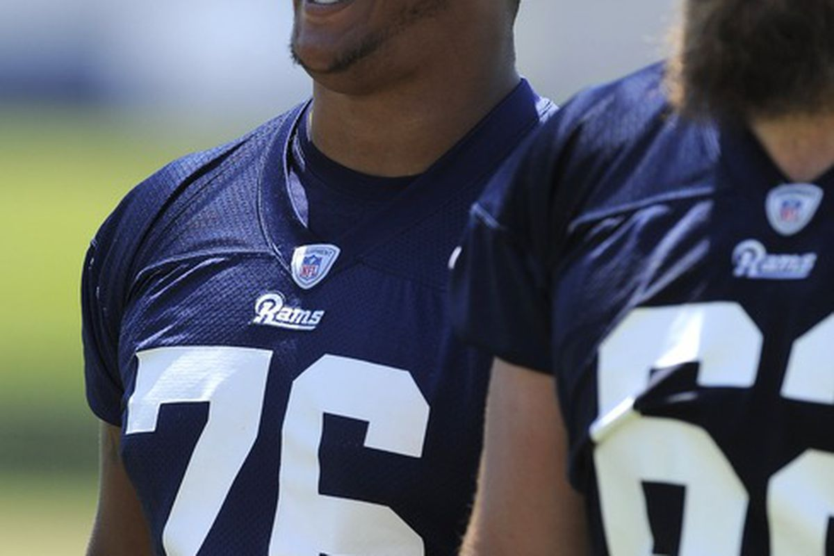 May 23, 2012; St. Louis, MO, USA; St. Louis Rams tackle Rodger Saffold (76) walks off the field during an OTA at ContinuityX Training Center. Mandatory Credit: Jeff Curry-US PRESSWIRE