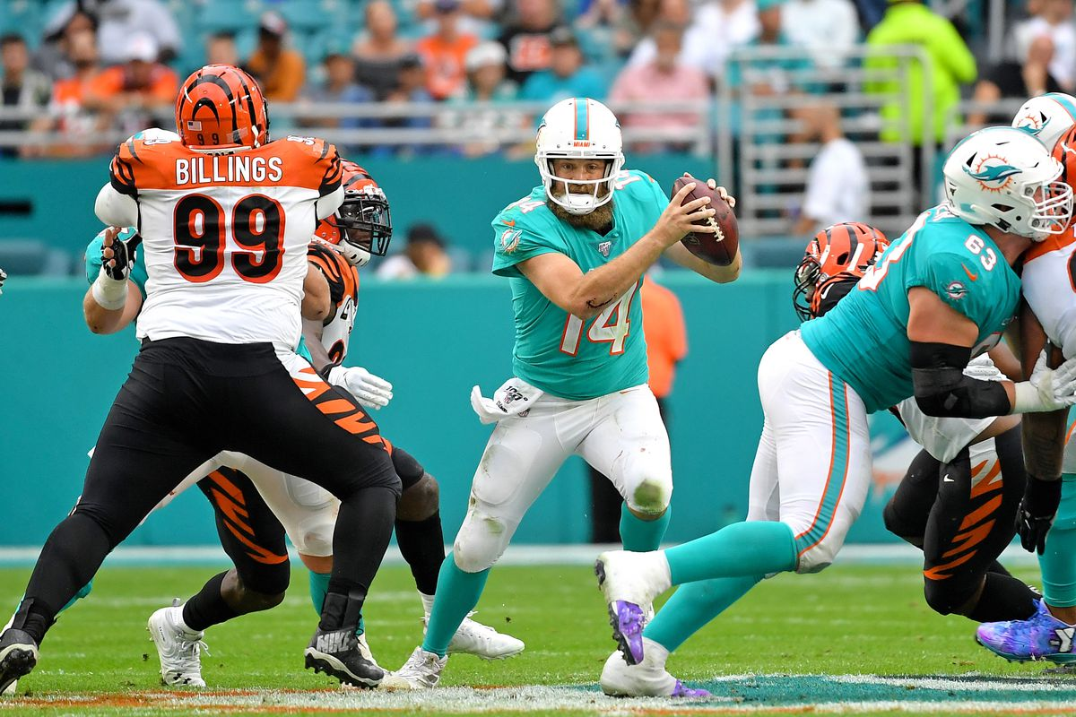 Miami Dolphins quarterback Ryan Fitzpatrick carries the ball past Cincinnati Bengals tight end Drew Sample during the second half at Hard Rock Stadium.