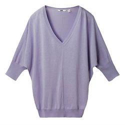 "<b>Uniqlo</b> Silk Cotton V-Neck Half Sleeve Sweater, <a href=""http://www.uniqlo.com/us/CPaGoods/itemcode=072083"">$29.90</a>"