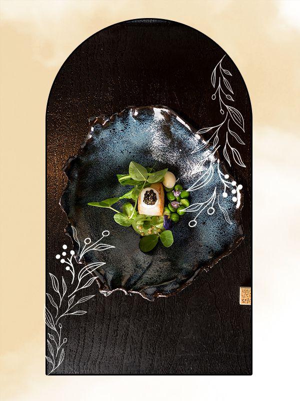 Photo illustration of a dish from N/Naka.