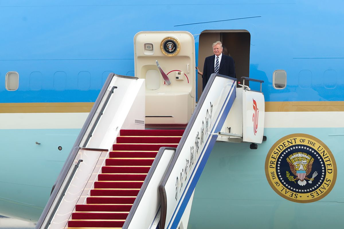 U.S. President Donald Trump's Special Plane Arrives At The Capital Airport