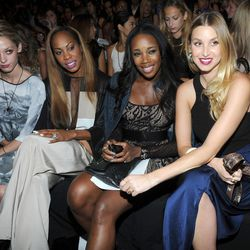 Cory Kennedy, from left, Sanya Richards-Ross, DJ Kiss and Whitney Port attend the BCBG MAX AZRIA Spring 2013 show at Fashion Week in New York, Thursday, Sept. 6, 2012.