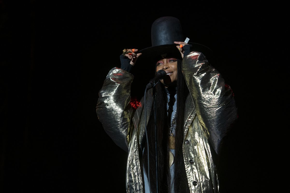Headliner Erykah Badu performs at the Green Stage at Pitchfork music festival at Union Park on Sunday, Sept. 12, 2021.