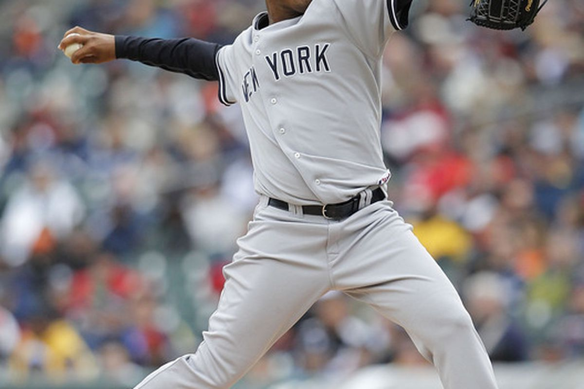 DETROIT - MAY 13: Ivan Nova #41 of the New York Yankees pitches in the seventh  inning against the Detroit Tigers on May 13, 2010 at Comerica Park in Detroit, Michigan. The Tigers defeated the Yankees 6-0.  (Photo by Leon Halip/Getty Images)
