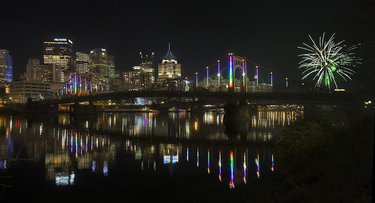 Rachel Carson bridge lit up at night