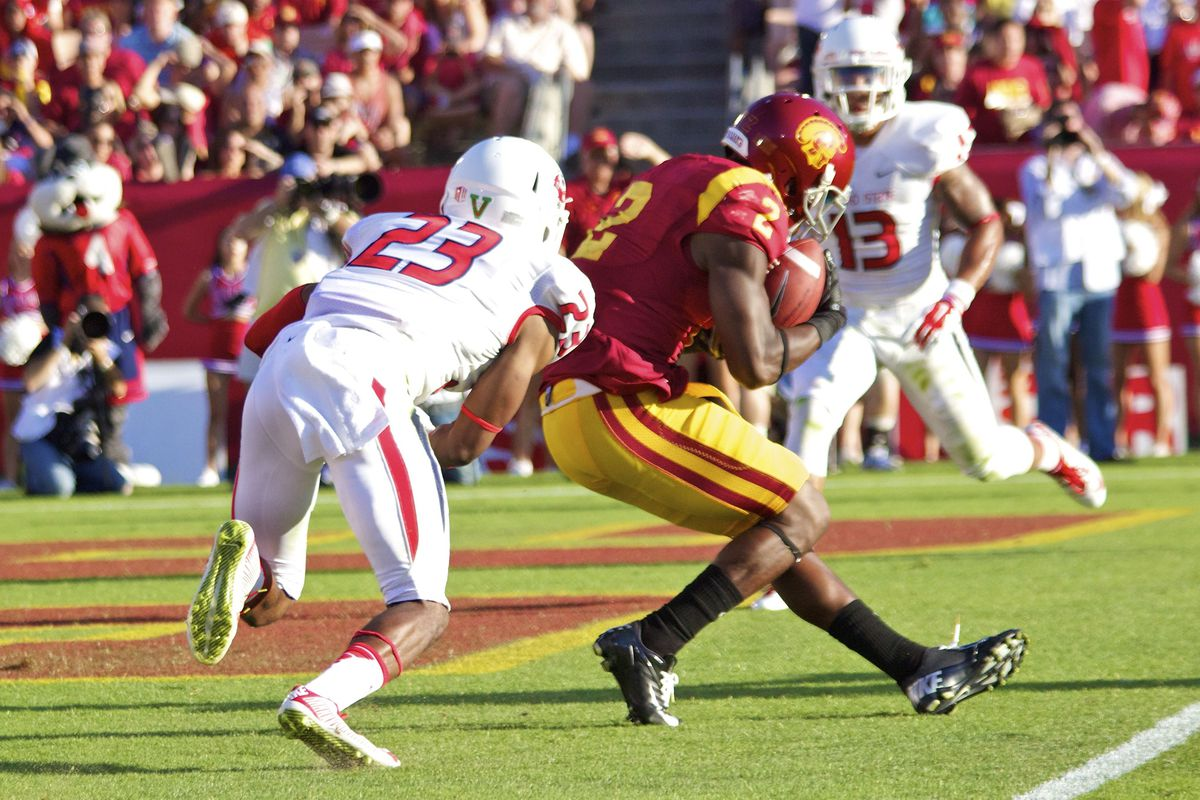 Adoree' Jackson makes his first career touchdown catch.
