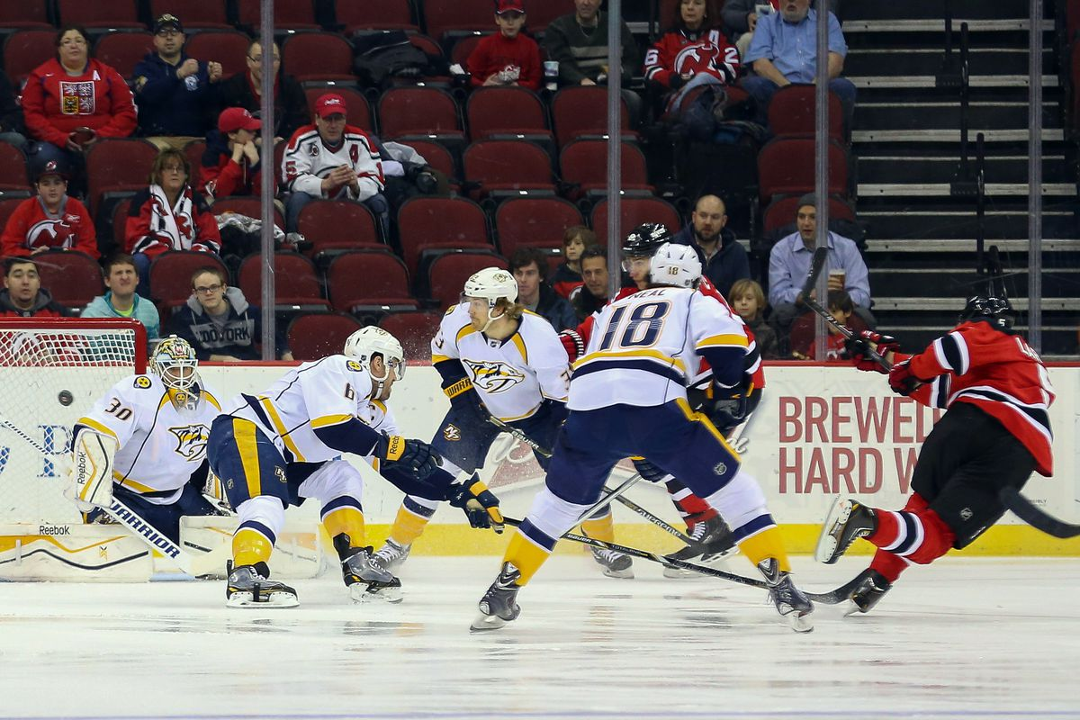 Pictured: the game's opening goal by Adam Larsson.