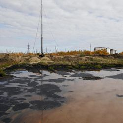 An oil spill near the town of Usinsk, Russia in September. Ruptures in aging pipelines and leaks from decommissioned oil wells make oil spills in the region routine.